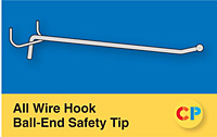 All Wire Single Prong Hooks Ball-End Safety Tip