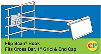 "Flip Scan Hooks Fits Cross Bar, 1"" Grid and End Cap"