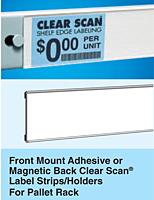 Front Mount, Pallet Rack Label Strips/Holders
