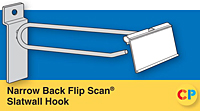 Narrow Back Slatwall Flip Scan Hook Fits Slatwall