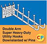 Double Arm Downslanted Super Heavy-Duty Utility Hooks