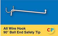 All Wire Single Prong Hooks 90° Safety Tip