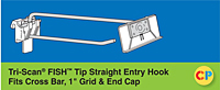 "Tri-Scan Fish Tip Straight Entry Hooks - Fits Cross Bar, 1"" Grid & End Cap"