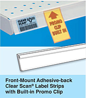 Front-Mount Adhesive-back Clear Scan Label Strips with Built-in Promo Clip
