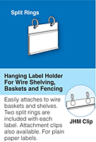 hanging label holders for paper labels