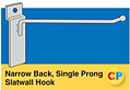 Narrow Back, Single Prong Slatwall Hooks