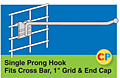 "Single Prong Hooks - Fits Cross Bar, 1"" Grid and End Cap"